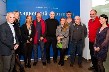 "Yannis Varoufakis and Defne Ayas at the ""Stationmaster"" exhibit"